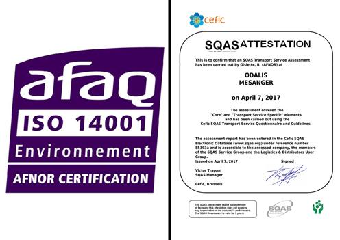 Sté ODALIS - Ensemble attestations AFAQ et SQAS